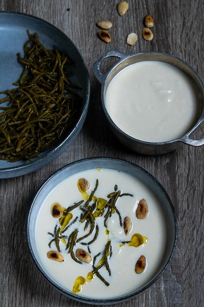 velouté de chou-fleur et salicornes