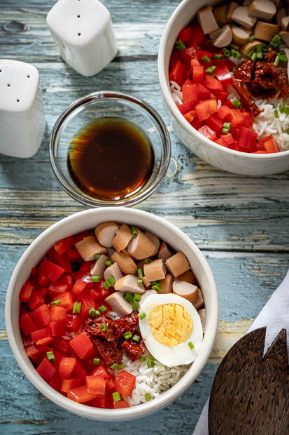 salade de riz aux saucisses